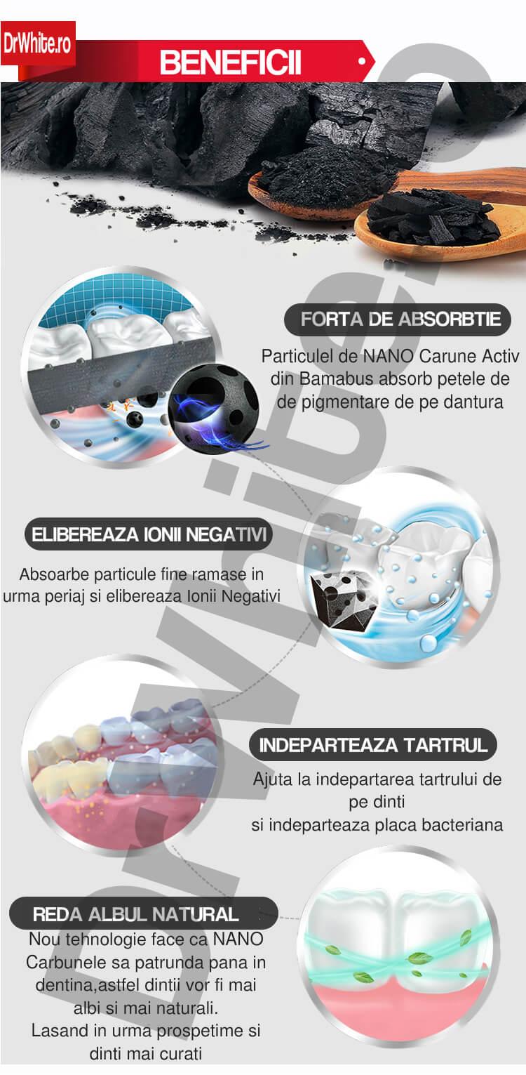 benzi pentru albirea dintilor cu nano carbune activ